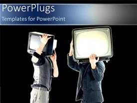 PowerPoint template displaying depictions of two men holding retro televisions on their shoulders on black background