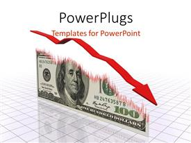 PowerPlugs: PowerPoint template with a descending red arrow over a U.S dollar bill