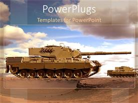 PowerPoint template displaying desert armored tanks advance for war with cloudy sky
