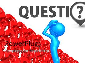 PowerPlugs: PowerPoint template with design of red color question marks on white background