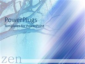 PowerPlugs: PowerPoint template with design representing empty tree branches faded in the gradient blue and purple background