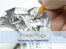 PowerPlugs: PowerPoint template with a designer creating a beautiful design with the help of  lead pencil