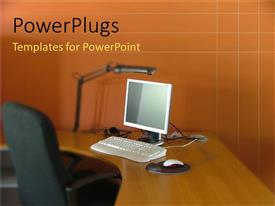 PowerPoint template displaying desktop computer on an office desk with a chair and lamp