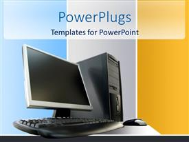 PowerPoint template displaying desktop computer PC with unit, screen, keyboard and mouse on white table and blue, gray and yellow panels in background