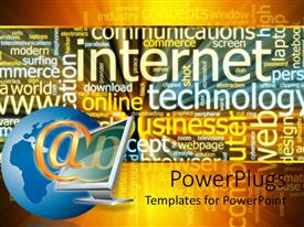 PowerPoint template displaying desktop screen with a golden @ symbol on a colorful background