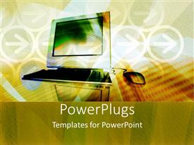 PowerPlugs: PowerPoint template with desktop with a wired mouse on a brown background