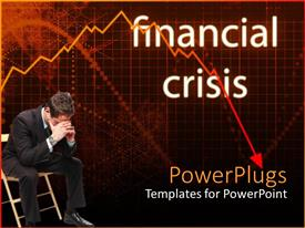 PowerPlugs: PowerPoint template with destitute businessman sitting face down with background written financial crisis