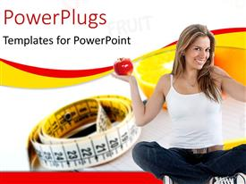 PowerPlugs: PowerPoint template with a pretty lady sitting cross legged and holding an apple