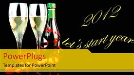 PowerPoint template displaying two champagne glasses with a text that spell out the words