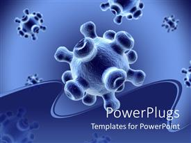 PowerPlugs: PowerPoint template with detailed 3D viruses spread on a blue background with wavy insertion