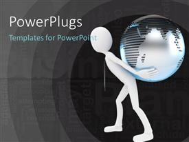 PowerPlugs: PowerPoint template with determined man carrying globe on back with success ingredients in background
