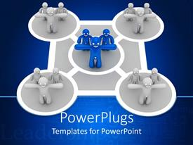 PowerPoint template displaying diagram with five circles, four circles with gray figures and middle circle with three blue figures