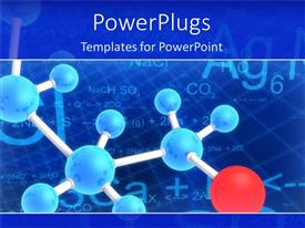 PowerPlugs: PowerPoint template with diagram of molecule structure with blue molecules and one red molecule on chemical formulas in the background