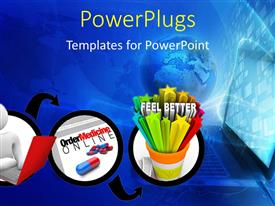 PowerPlugs: PowerPoint template with bluish background with a number of figures