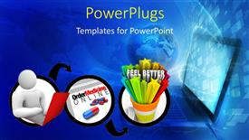 PowerPoint template displaying bluish background with a number of figures