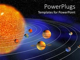 PowerPlugs: PowerPoint template with diagram representing planets of the Solar system on the background representing the Universe
