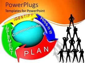 PowerPlugs: PowerPoint template with diagram of risk management process, human pyramid silhouette