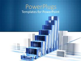 PowerPoint template displaying diagram of success built from blue shaded glass bars that seem to build a stair and are surrounded by transparent white glass bars on white and squared blue background