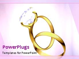 PowerPlugs: PowerPoint template with a diamond ring being placed into another rings with pinkish background