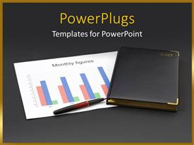PowerPlugs: PowerPoint template with diary together with financial chart and pen with dark grey color