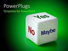 PowerPlugs: PowerPoint template with a dice with various options and greenish background