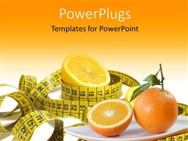 PowerPlugs: PowerPoint template with diet depiction with measuring tape and sliced orange fruits