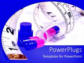 PowerPoint template displaying diet pills in bottle with measuring tape, weight loss