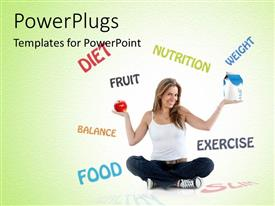 PowerPlugs: PowerPoint template with dieting lady sitting with legs crossed holds red apple in hand