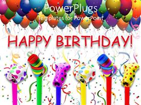 PowerPlugs: PowerPoint template with different candies with various colors and balloons in the background
