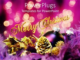 PowerPoint template displaying different Christmas jewels with 'merry christmas' text