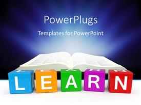 PowerPlugs: PowerPoint template with different color cubes with learn keyword and open book over dark background