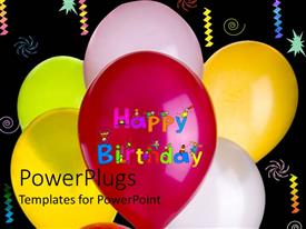 PowerPlugs: PowerPoint template with different colored bubbles inflated for birthday party