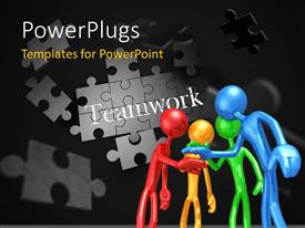 PowerPlugs: PowerPoint template with different colored humanoids placing hand over hand with jigsaw puzzle and teamwork keyword in background