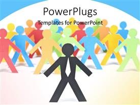 PowerPlugs: PowerPoint template with different colored paper men stand together with leader over white background