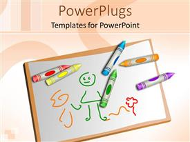 PowerPlugs: PowerPoint template with different colors of pencil crayons on a drawing board