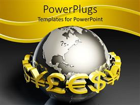 PowerPlugs: PowerPoint template with different currency in stock exchange market surrounding globe