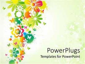 PowerPlugs: PowerPoint template with different flowers with little butterflies showing spring season