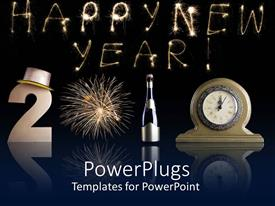 PowerPlugs: PowerPoint template with different gadgets forming the text '2010' with a text that spells out the word ' Happy New Year '