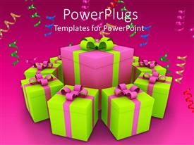 PowerPlugs: PowerPoint template with different gift hampers being placed in a circle with the biggest one in the middle