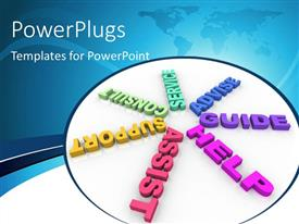 PowerPlugs: PowerPoint template with different keywords such as help, assist, consult, guide, advise, support & service with map in the background