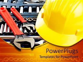 PowerPoint template displaying different mechanical tools and a yellow  large engineering cap