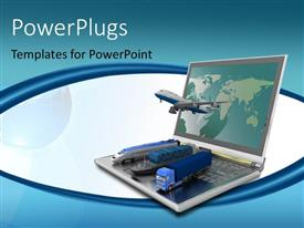 PowerPlugs: PowerPoint template with different modes of transport with a laptop and models of airplane, truck, train and ship