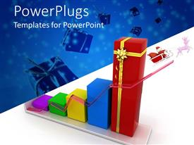 PowerPlugs: PowerPoint template with different multi colored bars with a  red Christmas sleigh