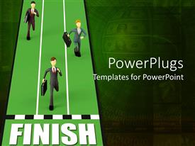 PowerPoint template displaying different people running towards the finish line in order to win the race
