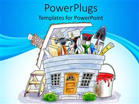PowerPoint template displaying different set of home construction tools in a cartoonish form