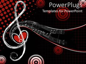 PowerPlugs: PowerPoint template with different shapes of musical notes with love, Red and black background