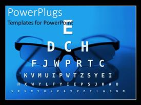 PowerPlugs: PowerPoint template with different sized letters for optician eye test with eye glasses in background
