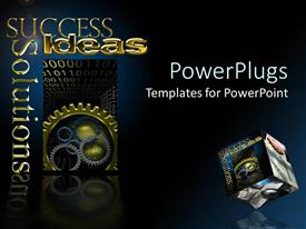 Beautiful slide set having different sizes and colors of gears with success text