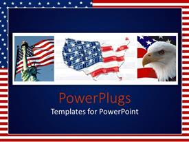 PowerPlugs: PowerPoint template with different tiles containing the US flags and an eagle