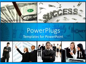 PowerPlugs: PowerPoint template with different tiles with lots of humans and a dollar text spelling 'success'